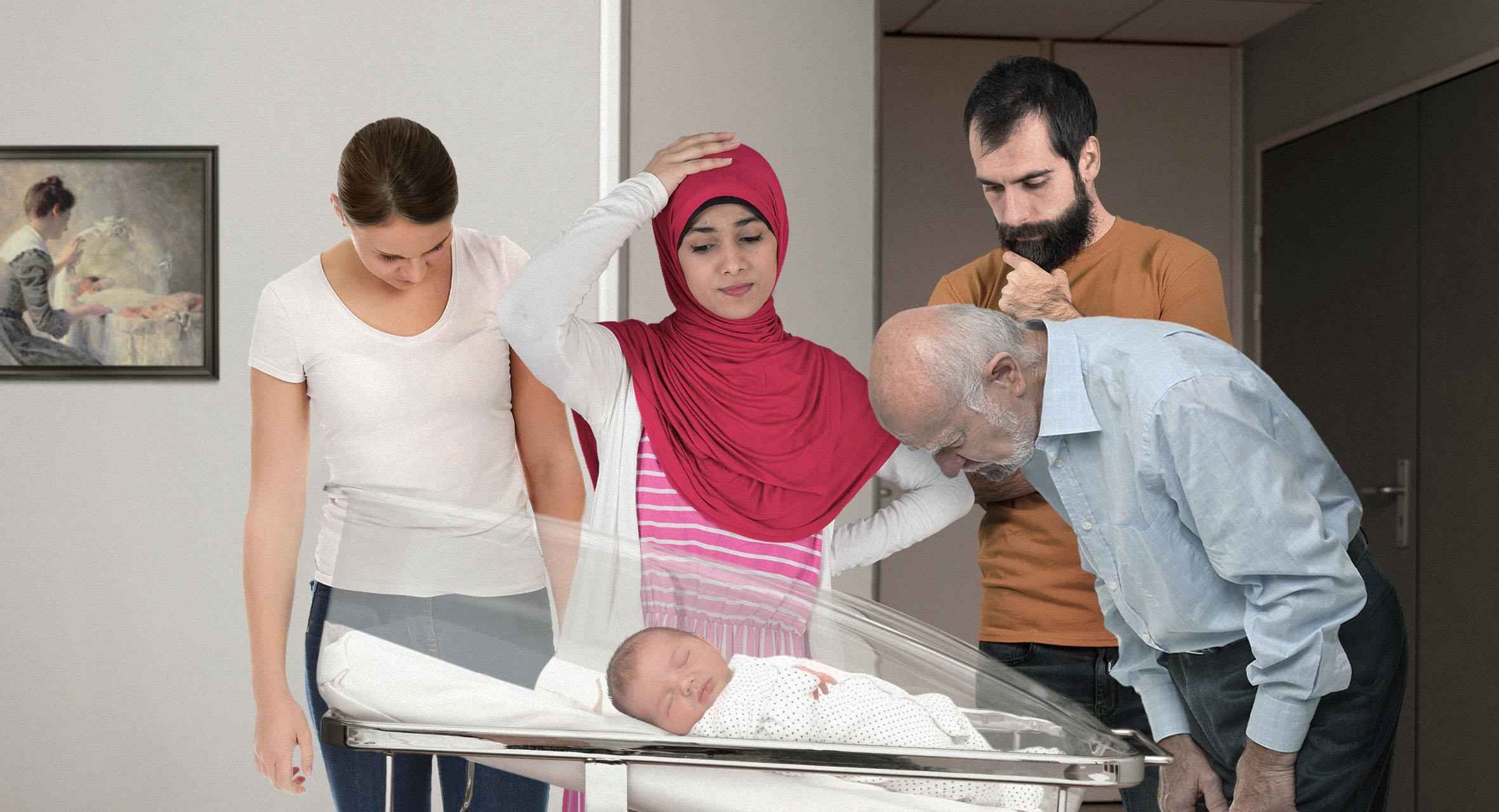 صورة ولادة طفل لم يُعرَف من يشبه عند ولادته