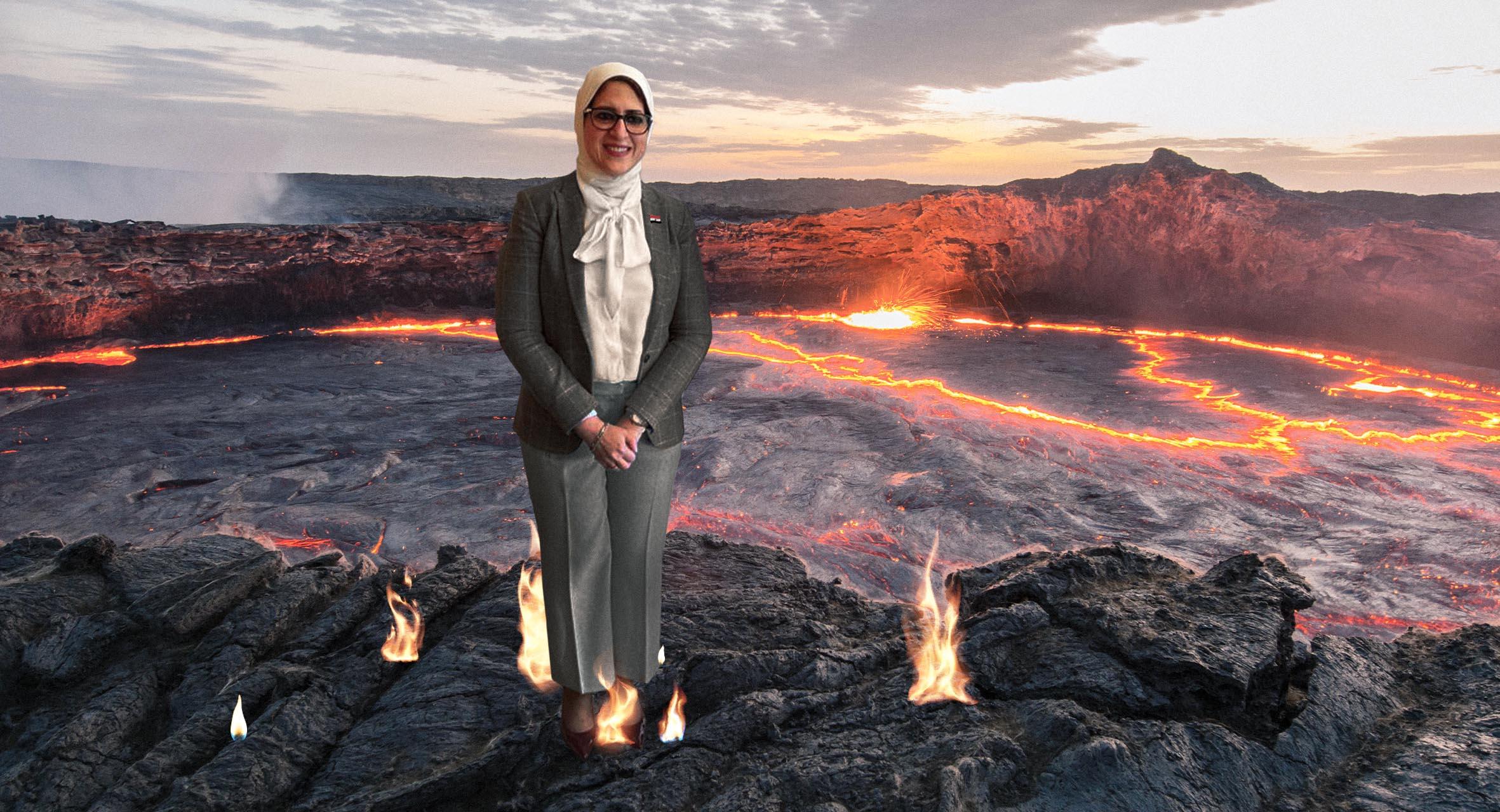 صورة هالة زايد تضع قدمها في فوهة بركان نشط لتثبت أنّه لا يحرق