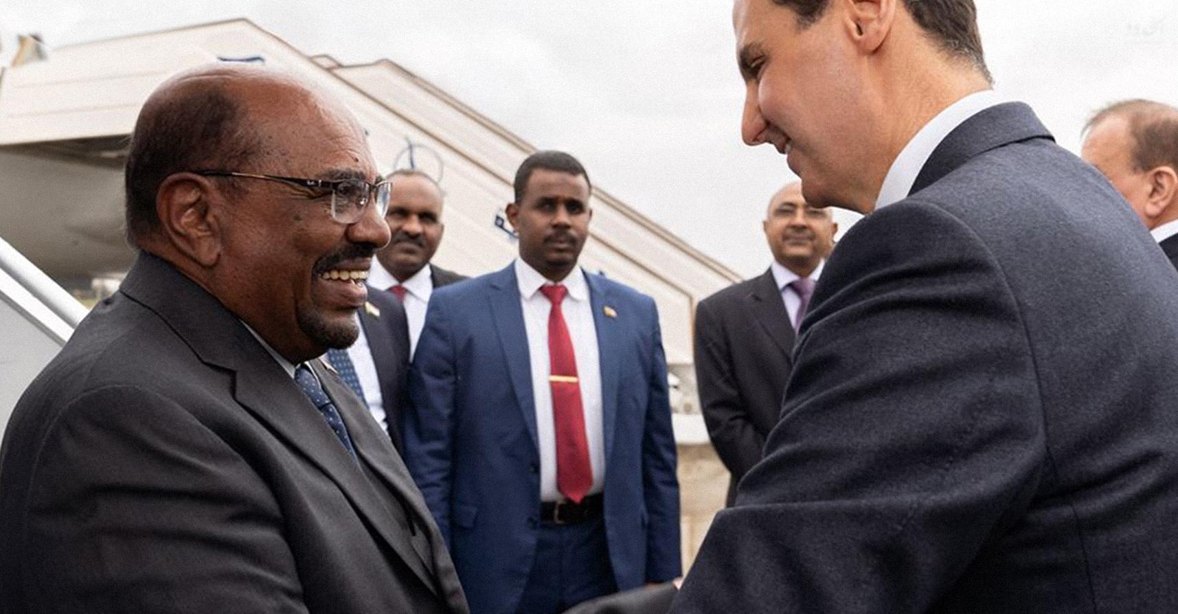 صورة رئيس نصف السودان يزور شقيقه رئيس ثلاثة أخماس سوريا
