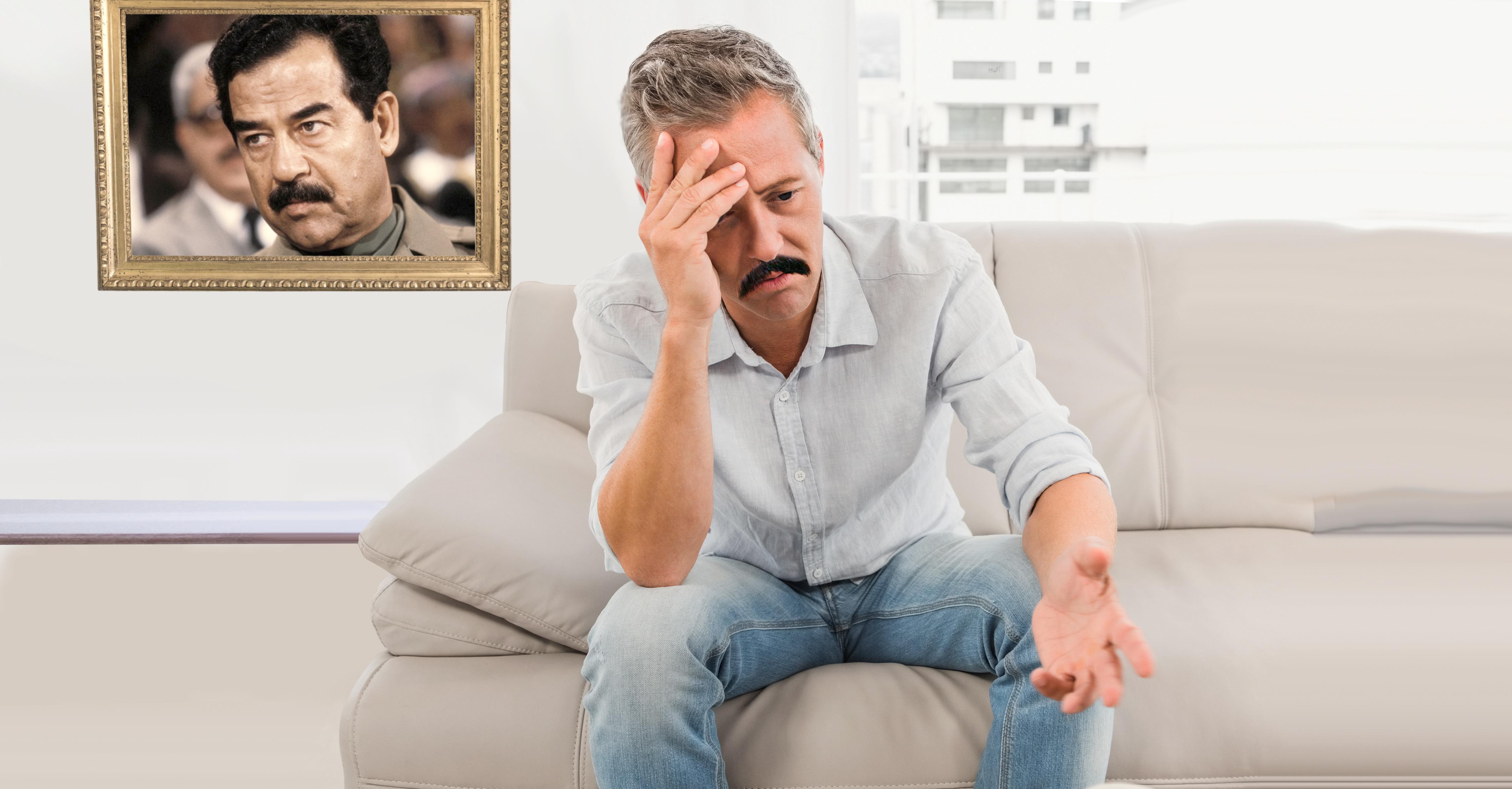 صورة مناضل بعثي بدأ يشكّ حقاً بأنَّ صدام حسين ميّت ولن يعود