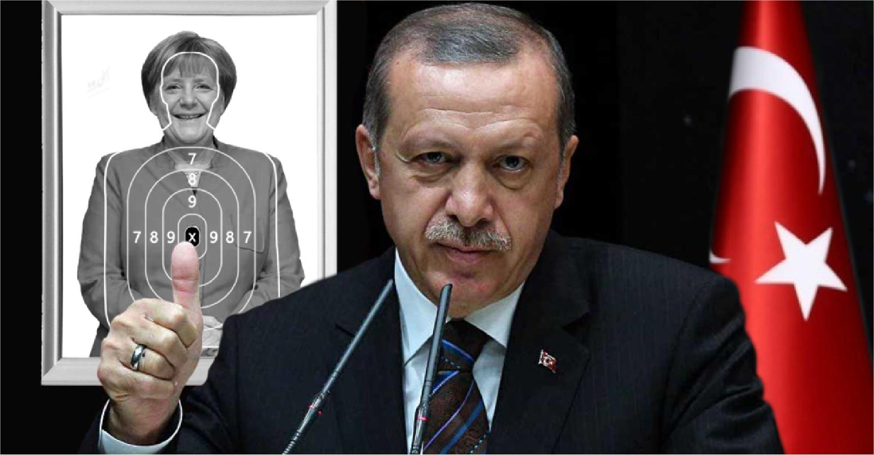 صورة إردوغان يؤكّد قبوله اعتذار الناتو إن وضعوا صورة ميركل بدلا منه للتصويب عليها