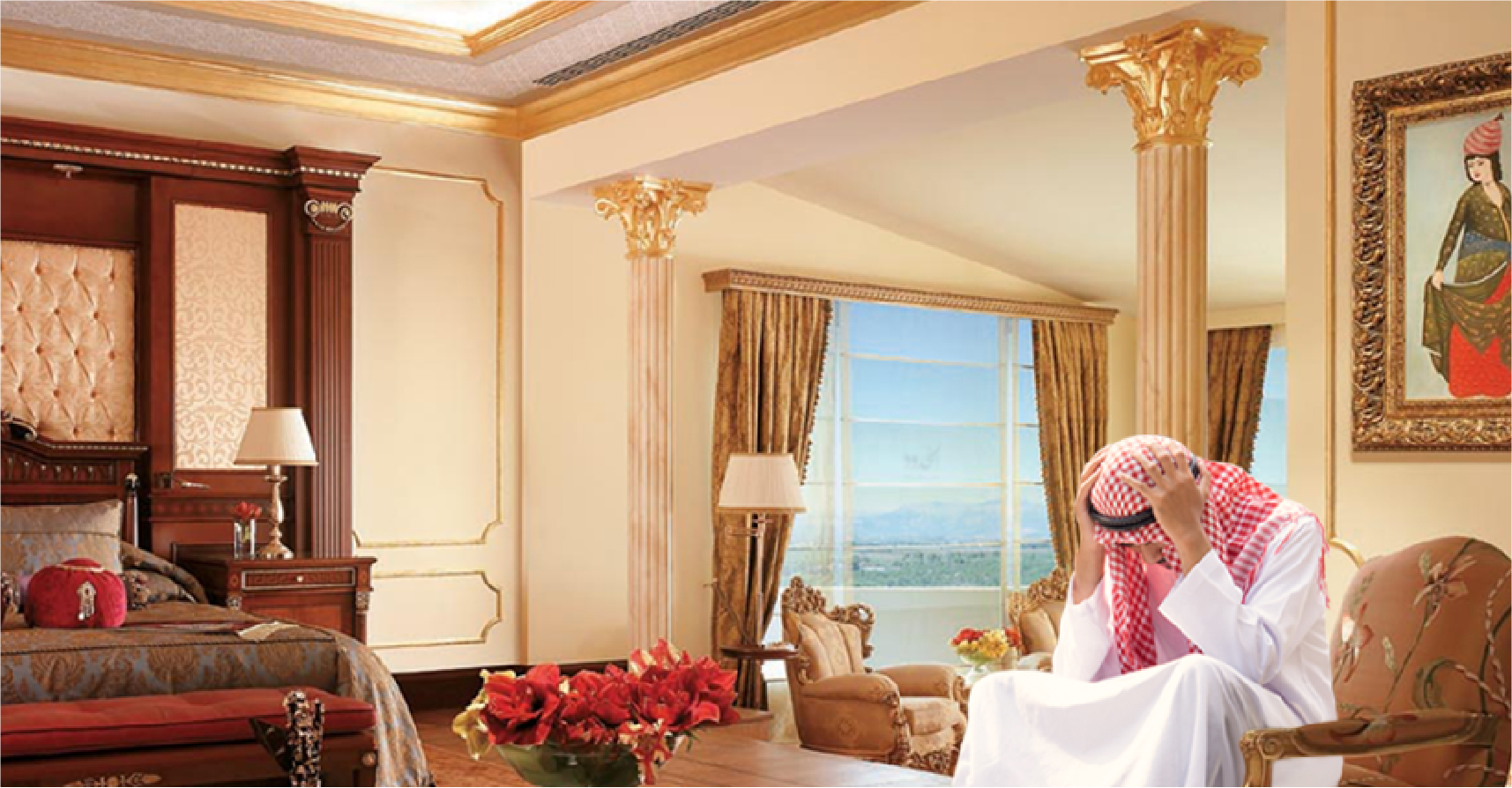 صورة أمير خليجي مُعدِم يعجز عن شراء فندق الخمس نجوم الذي يود الاستجمام فيه