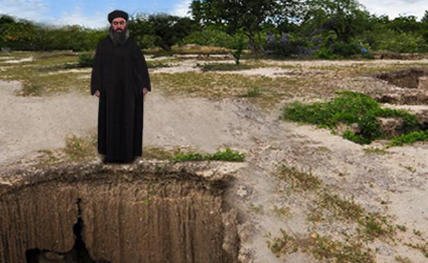 صورة البغدادي يبحث عن حفرة أفضل من تلك التي اختبأ بها صدام